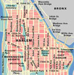 Map of Harlem, Manhattan in New York City